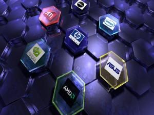 Postal: Logos de empresas informáticas