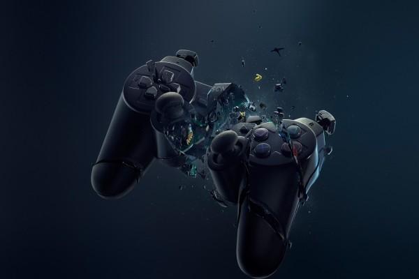 Mando de PlayStation en destrucción