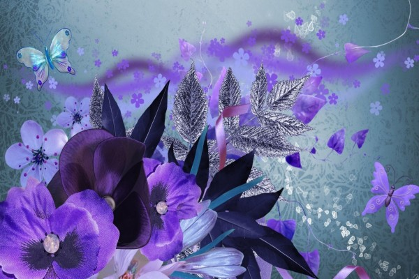 Flores  y mariposas color púrpura