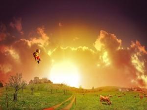 Postal: Globos volando sobre la granja
