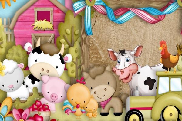 Animalitos divertidos en el granero