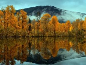 Hermoso paisaje otoñal reflejado en un lago