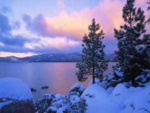 Hermoso lago en invierno
