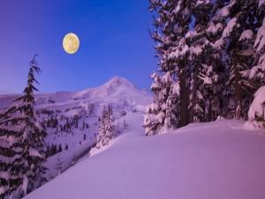 Luna llena en el Monte Hood