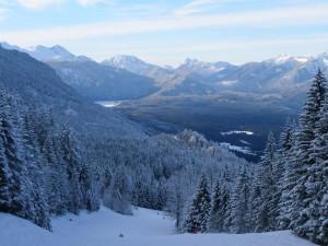 Hermosas vistas desde una pista de esquí