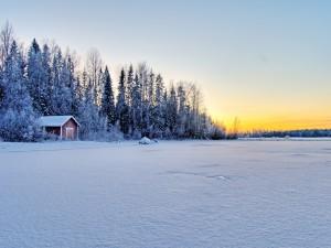 Caseta de madera cubierta de nieve
