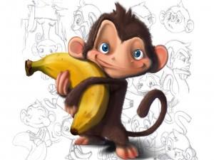 Mono sosteniendo un plátano