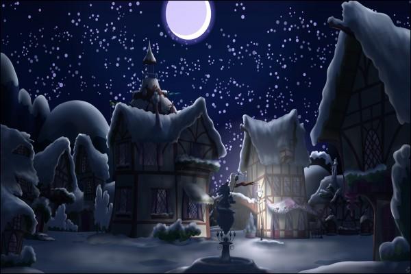 Pueblo de fantasía en una noche blanca