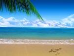 Corazón sobre la arena de una playa