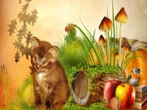 Pajarito y gatito entre elementos otoñales