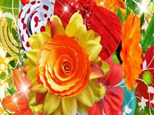 Flores de colores brillantes