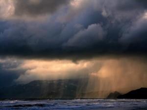Lluvia sobre el mar