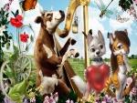 Una dulce vaca tocando el arpa para sus amigos