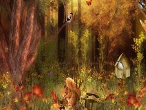 Animales en un bosque otoñal