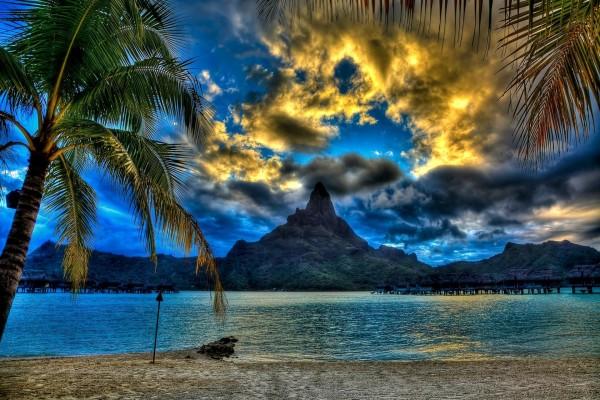 Bonito cielo visto desde una playa