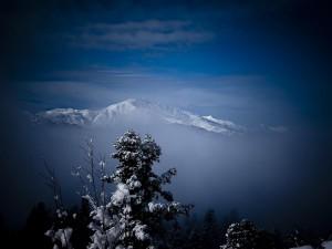 Montaña cubierta de nieve en invierno