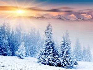 Postal: Radiante sol tras las montañas nevadas