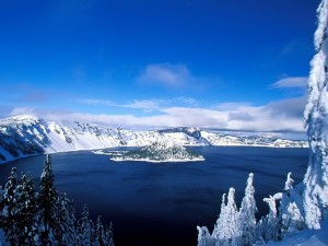 Postal: Isleta cubierta de nieve