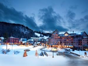 Edificios iluminados en un lugar cubierto de nieve