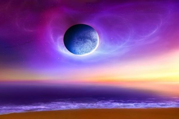 Planeta sobre una playa