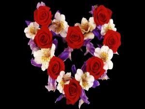 Postal: Corazón de flores