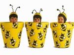 Tres bebés disfrazados de abeja