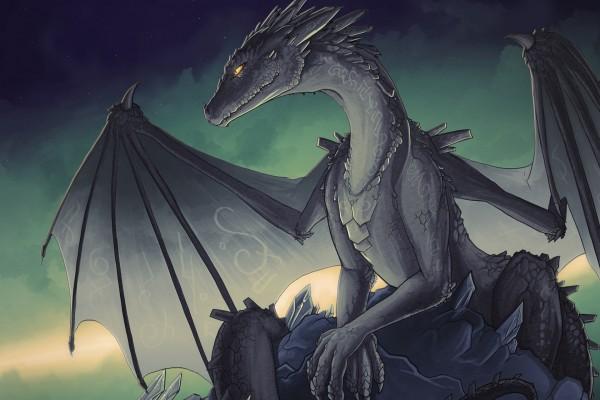 Un bello dragón sobre una roca