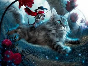Súper ratón a lomos de un gato