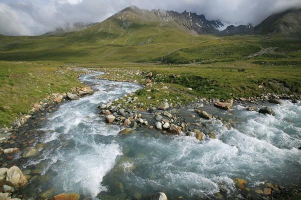 Río caudaloso y pedregoso en una llanura