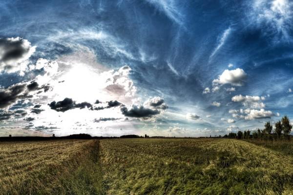 Bonito cielo sobre un campo