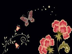Postal: Bonita imagen primaveral en fondo negro