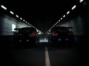 Dos coches en un túnel