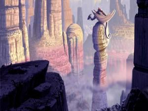 Hombre sobre un dragón posado en una columna de roca