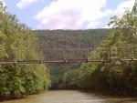 Puente colgante sobre un río