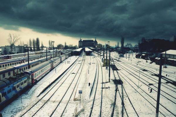 Nieve sobre una estación de tren