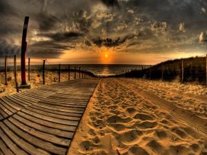 Postal: Contemplando el amanecer desde el camino de una playa