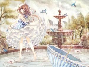 Postal: Una joven disfrutando de un día primaveral