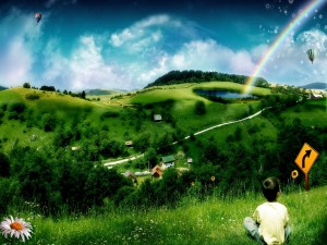 Postal: Niño contemplando un paisaje