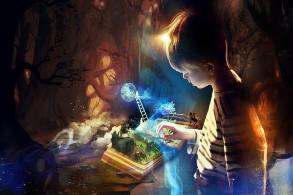 La imaginación de un niño al leer un libro