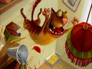 Postal: Gato saltando de una mesa a una lámpara de techo