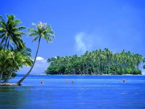 Gente disfrutando en una isla tropical
