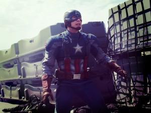 Postal: Capitán América en acción