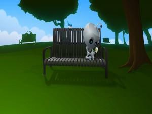 Postal: Un robot esperando a su amor sentado en un banco