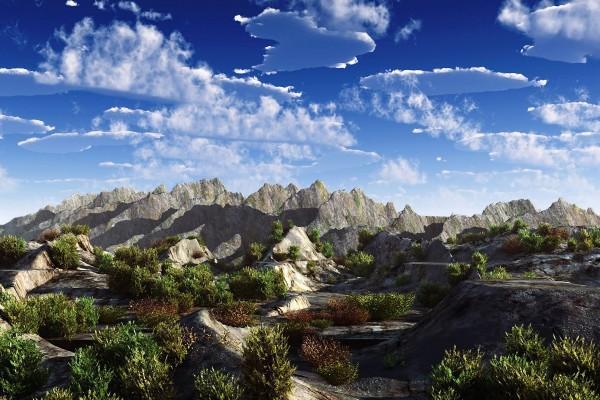 Nubes sobre un paisaje rocoso