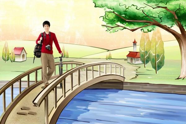 Fotógrafo sobre un puente de fantasía