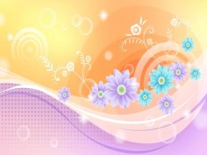 Postal: Flores lilas y turquesas
