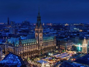 vista nocturna de Hamburgo