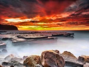 Postal: Bonito cielo sobre el mar