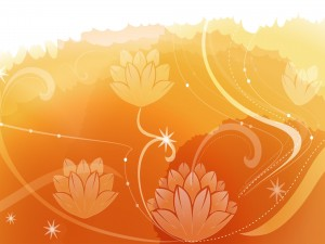 Postal: Bonitas flores en un fondo anaranjado