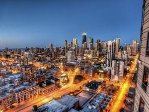 Vista de los rascacielos de Chicago